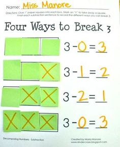 This is a set of 4 worksheets designed to help students develop the skill of decomposing numbers 2, 3, 5 and 6 using SUBTRACTION using 1.