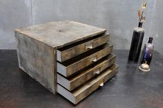 USA, c.1940s. Vintage Old Industrial Autohaus Storage Cabinet. All Steel Construction. Time Worn Patina. Solid and Stable.