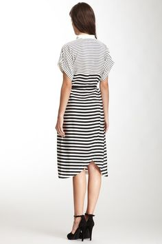 tibi striped shirt dress