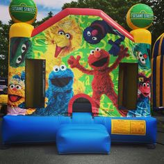 This 12' x 13' inflatable bounce castle is themed with Sesame Street characters and colors. Our high quality inflatables can hold over 600lbs and are fun for people of any age. Call our Pawtucket store for availability ! Did you also know our North Providence location also provides a few bounce houses? They offer a waterslide bounce combo !! Call their location on Charles Street 723-5555 and see what they have for you!