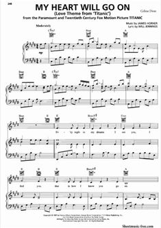 Thumbnail of first page of My Heart Will Go On piano sheet music PDF by Celine Dion. Piano Sheet Music Pdf, Free Piano Sheets, Printable Sheet Music, Free Sheet Music, Piano Music, Titanic, Celine Dion, Love You More, Love Songs