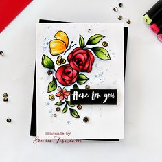 Altenew Bamboo Roses coloured using Artist Markers by Erum Tasneem - pr0digy0
