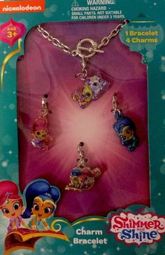 NICKELODEON SHIMMER AND SHINE BRACELET WITH 4 CHARMS GENIES (S2) #Nickelodeon