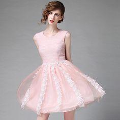 Pink Mini Lace Dress