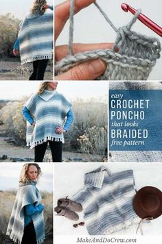 "This free women's crochet poncho pattern has a ""braided"" texture thanks to its knit-looking crochet stitch. Click to learn from the step-by-step tutorial featuring Lion Brand Scarfie yarn. #crochet #freepattern #tutorial #howto #poncho #modern #knitlooking #knit #lionbrandyarn"