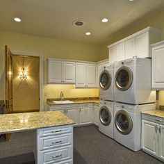 Laundry Room Double Washer Dryer Design, Pictures, Remodel, Decor and Ideas