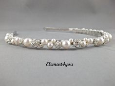 Swarovski Pearls rhinestone Balls Bridal Tiara Headband White or Ivory Beaded Silver Metal Hair Flower girl Wedding accessories on Etsy, $34.00