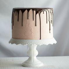 Chocolate Vanilla Tuxedo Cake with Raspberry White Chocolate Buttercream www.PineappleandCoconut.com