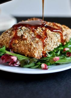 Roasted Almond Crusted Salmon with Pomegranate Glaze | howsweeteats.com