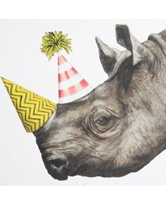 Rhino party hats, Image 4 of Ohh Deer Rufus Greeting Card February 2015 Happy Birthday Images, Happy Birthday Wishes, Birthday Greetings, It's Your Birthday, Card Birthday, Party Animals, Animal Party, Ohh Deer, Karten Diy
