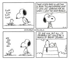 First Appearance: March 12th, 1970 #peanutsspecials #ps #pnts #schulz #snoopy #woodstock #typetypetypetype #stupidbird #writing #book #telling #everyone #working #head #beagle #heeheeheeheehee #sue #bunch #breadcrumbs www.peanutsspecials.com