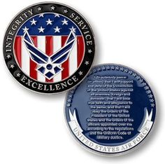 """U.S. Air Force """"Oath of Enlistment"""" Challenge Coin ~ Visit AFWM.org for Basic…"""