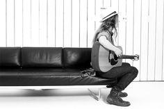 hat, boots, guitar.