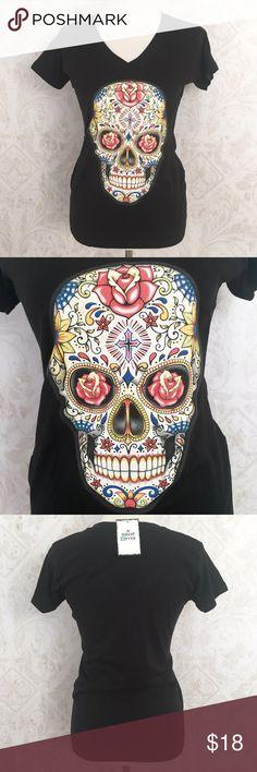 "Dia de los Muertos black ""sugar skull"" tee shirt Description to follow Tops Tees - Short Sleeve"