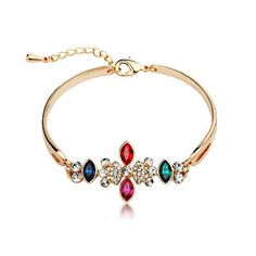 Swarovski Clear Crystal Tear Diamond Gold Bangle