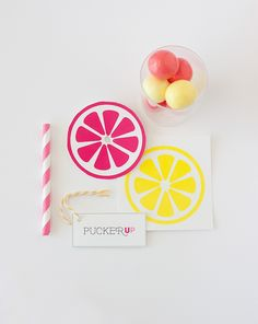 DIY Gumball Party Favors   Free Lemonade Printables | http://www.designeatrepeat.com/2014/05/free-lemonade-printables-lemonade-gumball-party-favors/