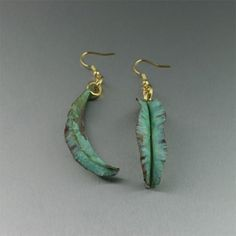 Fold Formed Apple Green Copper Leaf Earrings  $65.00