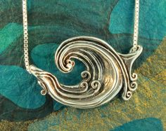 Wave Necklace Silver Rip Curl Wave Pendant Wave by martymagic