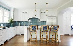 blue + white kitchen
