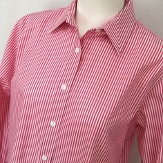 Foxcroft wrinkle free pink stripe button blouse 😍 Perfect work shirt or just for fun. Pretty pink and white striped Boise in wrinkle free fabric. Looks great, like new. Button blouse shirt in size 8. Foxcroft Tops Blouses