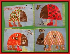 Patterned ladybugs! Used scrapbook paper, a template shape, mod-podge, buttons and googly-eyes.