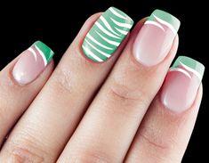 15 Cute Zebra Print Nail Art Designs and Tutorial: Mint Green White Zebra Print Nail Art