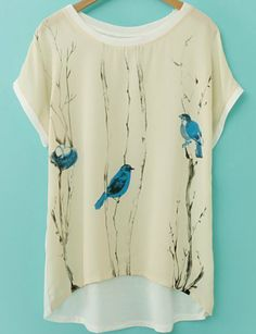 Apricot Short Sleeve Birds Print Dip Hem T-Shirt 11.15