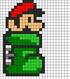 Mario In Green Tube Perler Bead Pattern