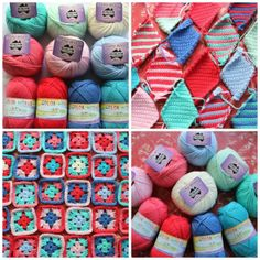 'colour collection' blue and reds Hello! We are having some glorious Indian Summer weather the last few days, still, sunny and wa. Indian Summer, Pretty Patterns, Yarn Crafts, Color Combos, Knit Crochet, Weaving, Crafty, Wool, Holiday Decor