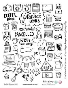 Free Printable Hand Drawn Planner Icons from Plan to Love This Life store checko. - sketchbook drawings - Free Printable Hand Drawn Planner Icons from Plan to Love This Life store checkout required - Bullet Journal Inspo, Planner Bullet Journal, Bullet Journal Ideas Pages, Bullet Journal Printables, Bullet Journals, Bullet Journal Layout Templates, Bullet Journal Headers, Bullet Journal Banner, Agenda Planner