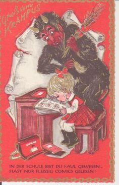 Gruß vom Krampus mit Rute, kleinem Mädchen auf Schulbank und Gedicht ngl 221.542…