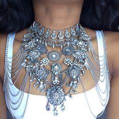 Sexy DIY Gem Summer Body Chain Luxury Chunky Metal Flower Necklacependant Femme Statement Instagram Necklace 3026