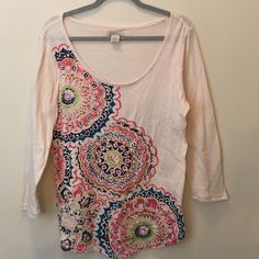 Colorful Printed Lucky Brand Top Super colorful and fun! This top is outlined with silver metallic stitching throughout. This will make a beautiful shirt for someone who is a lucky lover like I am! Lucky Brand Tops