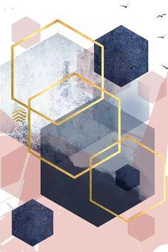 Abstract Navy Blush Gold I Art Print by Urban Epiphany | iCanvas