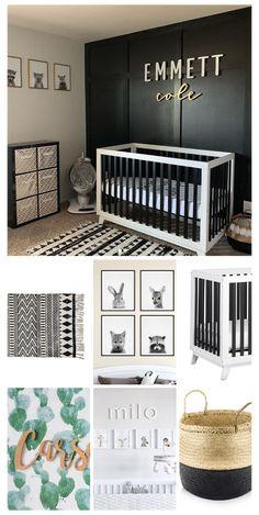 Black Nursery Furniture, Black Crib Nursery, Black Baby Cribs, Black White Nursery, White Rug, Black And White Boys Bedroom, White Cribs, Baby Boys, Baby Boy Rooms
