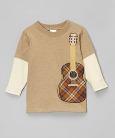 Loving this Heather Tan Guitar Layered Tee - Toddler & Boys on #zulily! #zulilyfinds