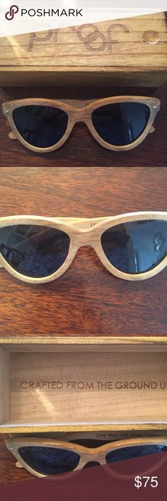 Proof Mcall Wooden Sunglasses Worn once. Cat eye style. Light authentic wood in bag in light wood box. Made in Oregon. proof Accessories Sunglasses