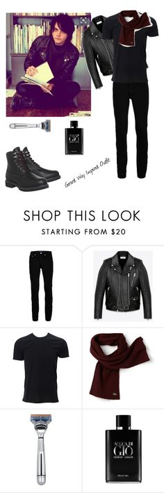 """""""Gerard Way Inspired Outfit"""" by a-chaos ❤ liked on Polyvore featuring Topman, Yves Saint Laurent, Lacoste, The Art of Shaving, Giorgio Armani, Timberland, men's fashion and menswear"""
