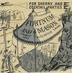 """""""For Sherry and Cocktail Parties"""" illiustration by Edward Bawden for Fortnum & Mason, Piccadilly, London"""
