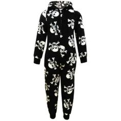 Boys Jumpsuit Pyjama New Star Skulls Fleece All In One Ages 2-6 Years