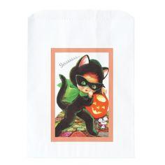 A Girl in Kitty Costume Favor Bag - cyo diy customize unique design gift idea