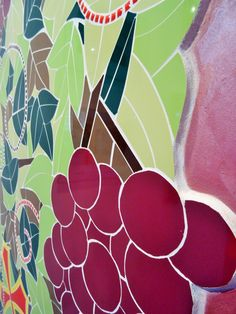 Fresque murale la vigne r alis e par zam cr ation ici expos e - Decoration murale contemporaine ...