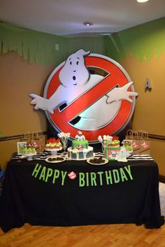 Check out this awesome Ghostbusters birthday party. Love the backdrop! See more party ideas and share yours at CatchMyParty.com