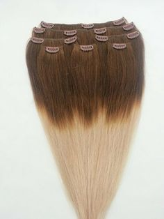"""16"""" 100% REMY Human OMBRE Hair Extensions 7Pcs Clip in #T4/18 by Hair faux You. $59.99. Full Head 16"""" 100% REMY Human OMBRE Hair Extensions 7Pcs Clip in #T4/18. Easy to attach and remove, totally DIYable.. High quality, tangle free, silky soft & thick;. High quality metal clip, corresponding colors looks natural;. 100% human hair, can be curled, dyed, straightened;. 16"""" 100% REMY Human OMBRE Hair Extensions 7 Pcs Clip in #4/18.The top is #4 (Dark Brown) to a #18 (Dark Blon..."""