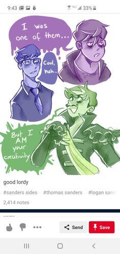 """because i was one of them"" my heaRTTTT Friend Cartoon, Jack And Mark, Tomato Sandwich, Thomas Sanders, Rainbow Aesthetic, Sander Sides, Boy Art, Fantastic Beasts, Cute Art"
