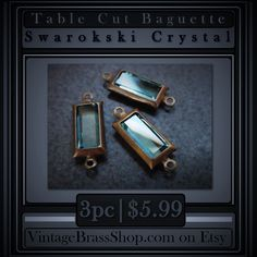 3 #AQUAMARINE #VINTAGE #SWAROVSKICRYSTAL #STONES    Set in natural patina solid #brass #channel (prongless) settings    #Patina #color is consistent with the #photos    #Retro Vintage Stock (From the late 80's)    Very Limited Stock Remaining    Gorgeous light #ocean #blue #aqua color    Qualifies for $2.75 MAX USA Shipping w/ free add-ons of 175+ items in shop.    Due to age and handling over the years, you may encounter a tiny surface scratch or edge ding but nothing significant. Overall…