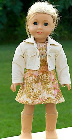 American Girl  Doll Clothing. 18 Inch Doll Clothing. Batik dress and Corduroy Crop Jacket ensemble.