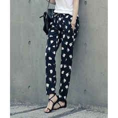 Women's Printed Pocket Design Chiffon Harem Pants, BLACK, XL in Pants & Shorts   DressLily.com