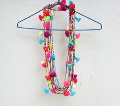 Mini Tassel Necklace Seed Bead Necklace Tiny Tassel by midgetgems