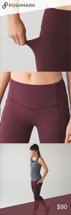 Lululemon All The Right Places Crop Size 2 crops in the color bordeaux drama. Perfect condition, just too small!! Only wore these twice, so these have been washed once. No pilling or imperfections, just does not have the pull tag anymore. lululemon athletica Pants Ankle & Cropped